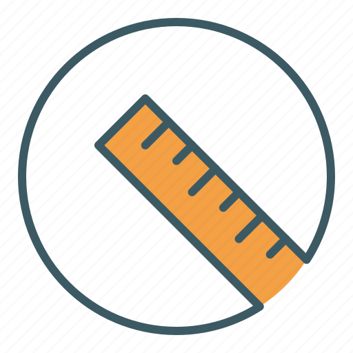 circle, measure, ruler, scale, school, tool icon