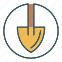 circle, dig, gardening, shovel, tool icon