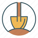 circle, construction, dig, dirt, gardening, shovel icon