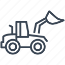 backhoe, bulldozer, construction, machine, vehicle icon