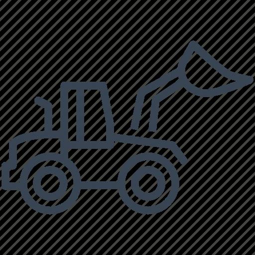backhoe, bulldozer, construction, machine, vehicle icon
