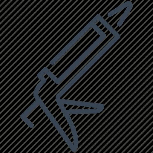 caulk, caulking, gun, silicone, tool icon