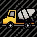 cement, mixer, constructioncar, transportation, truck, bulldozer