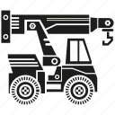 bulldozer, construction equipment, crane, heavy equipment, machinery, vehicle icon