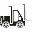 car, construction equipment, forklift, heavy equipment, loading, machinery, vehicle icon
