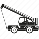 car, construction equipment, crane, heavy equipment, loading, machinery, vehicle icon