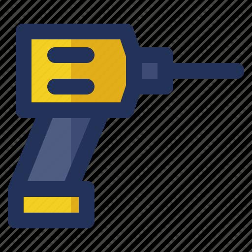 building, construction, crenelation, drill, labor icon