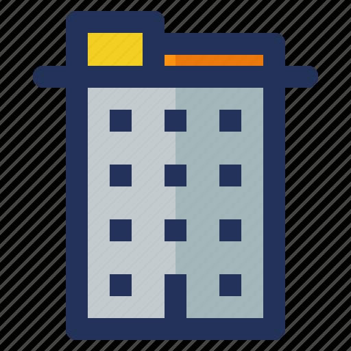 building, construction, crenelation, hotel, labor icon
