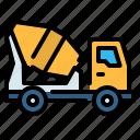 cement, concrete, construction, mixer, transportation, truck, vehicle icon
