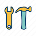 hammer, repair, tools, wrench icon