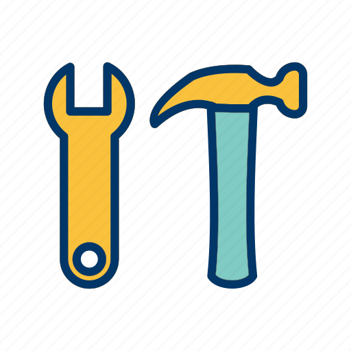 construction, hammer, tools, wrench icon