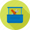 bolt, construction, equipment, nut, tool box, tool kit, tools