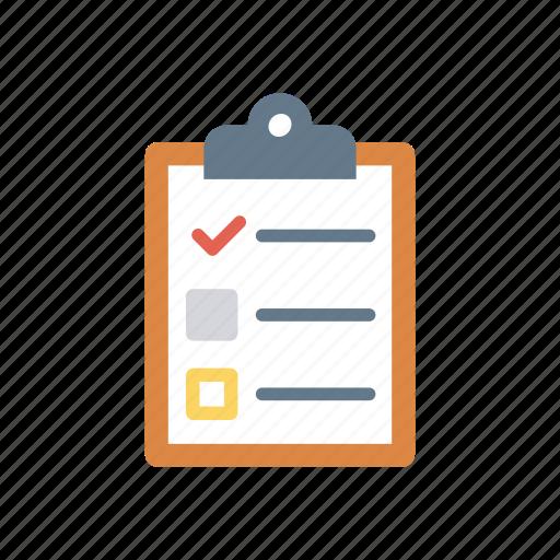 checklist, clipboard, document, ticks icon