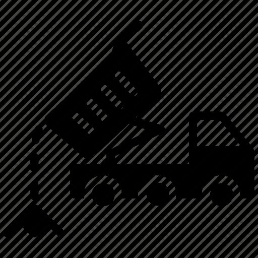 dam truck, dump truck, dumper truck, gravel truck, tipper truck icon