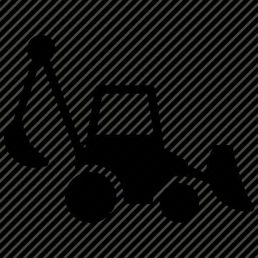 backhoe equipment, backhoe loader, cat backhoe, digger loader, tractor loader icon
