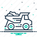 dump, dump truck, garbage, garbage truck, quarry, truck icon