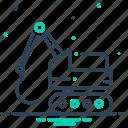 backhoe, construction, bulldozer, digger, excavator icon