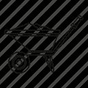 construction, garden, line, outline, tool, wheelbarrow, work icon