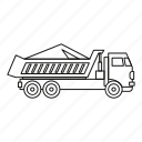 dump, equipment, line, outline, sand, truck, vehicle icon