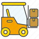 box, car, forklift, loading, vehicle, warehouse icon
