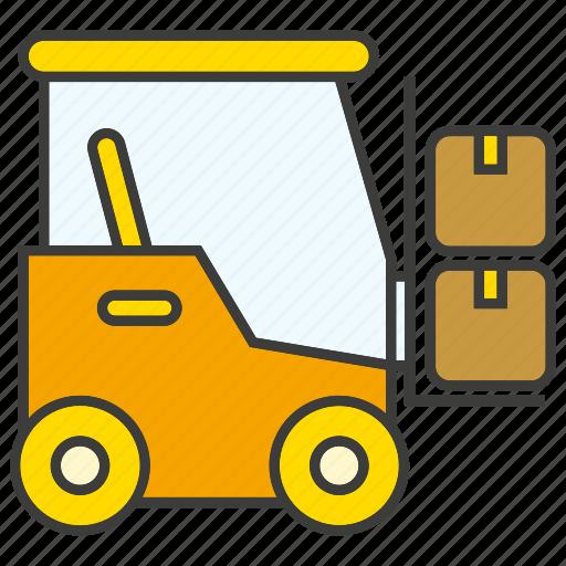 box, car, forklift, loading, vehicle, warehouse icon