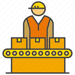 box, engineer, factory, labor, manufacturing, operator, production line icon