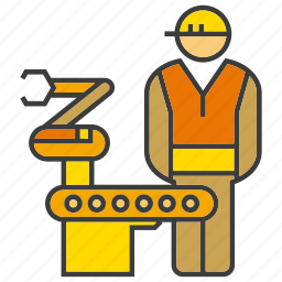 control, engineer, industry, manufacturing, operator, production, robot icon