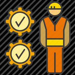 check, engineer, gear, mechanic, performance, technician icon