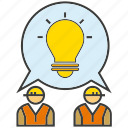 brainstorm, creative, engineer, idea, light bulb, think icon