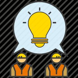 brainstorm, creative, engineer, idea, light bulb, think icon