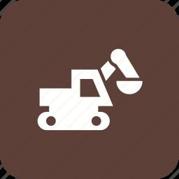 bulldozer, digger, excavator, machine icon