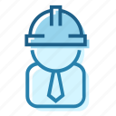 architect, construction, employer, executive, helmet, manager, planner icon