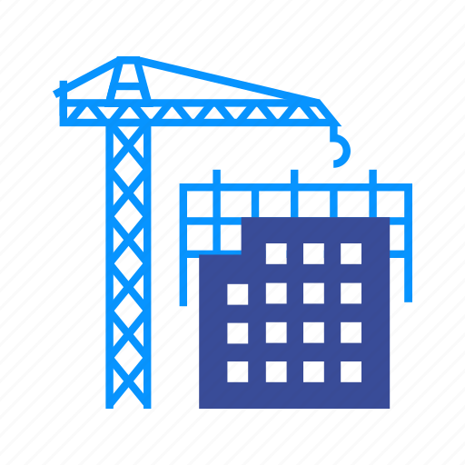 building, construction, crane, heavy, lifting, machine, steel icon