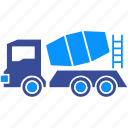 cement, concrete, construction, machine, mixer, vehicle, wheel icon