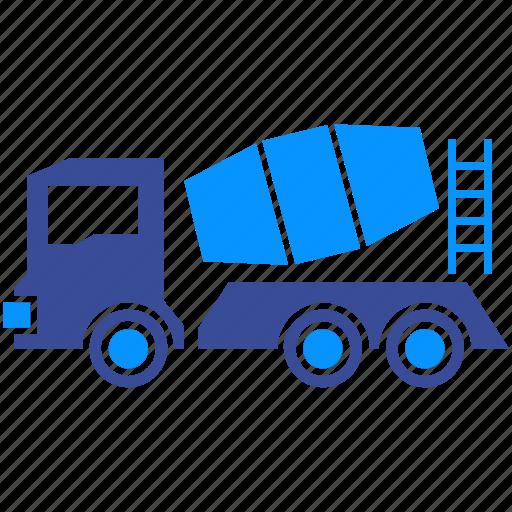 cement, concrete, construction, machine, mixer, vehicle, wheel icon