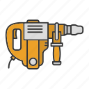 drill, drill driver, perforator, rotary hammer, tool icon