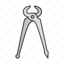 carpenter, nippers, pincers, pinchers, pliers, tongs, tool icon