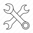 combination, open-end, pipe, screwer, spanner, tool, wrench icon