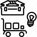 cart, lightbulb, store, tool, toolbox, tools, warehouse icon