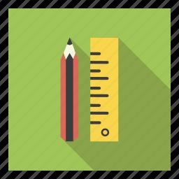draw, education, measurement, pencil, scale, school, student icon