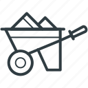 barrow, garden trolley, hand truck, trolley, wheelbarrow icon