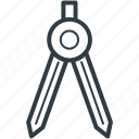compass, divider, drawing, geometry, protector icon