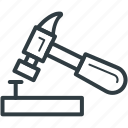 construction tool, hammer, hand holding hammer, hit, hitting with hammer icon