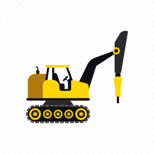 building, construction, digger, heavy, transportation, truck, vehicle icon