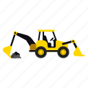 backhoe, construction, excavator, heavy, transportation, truck, vehicle icon