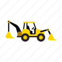 backhoe, construction, heavy, soil, transportation, truck, vehicle icon