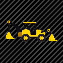 backhoe, construction, heavy, soil, transportation, truck, vehicle icon