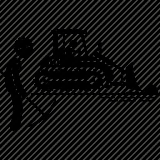 bulldozer, construction, truck, vehicle icon