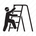 labor, ladder, stair, staircase, worker icon