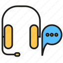 call service, chat, communicate, headphone, speech bubble icon